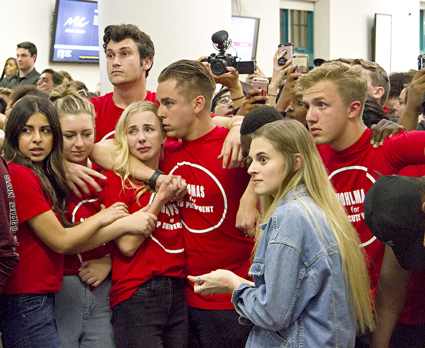 Vice president of university affairs candidate Anya Shutovska, third from left, reacts to the results of the 2018 A.S. elections while President-elect Chris Thomas consoles her.