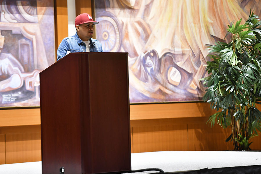 Yosimar Reyes spoke to students on March 14 about his art and his activism in the undocumented community.