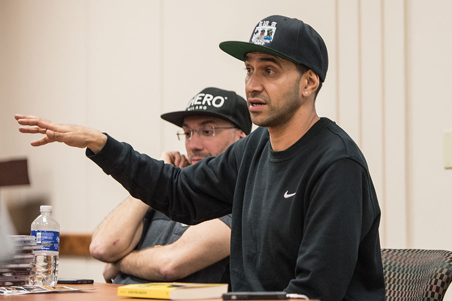 Amir Issaa spoke to students in a workshop setting about hip hop and Italy on March 6 on campus.