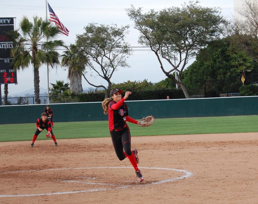 Junior+pitcher+Julie+McDonald+throws+a+pitch+during+the+Aztecs+3-1+loss+to+Boise+State+on+March+30+at+SDSU+Softball+Stadium.