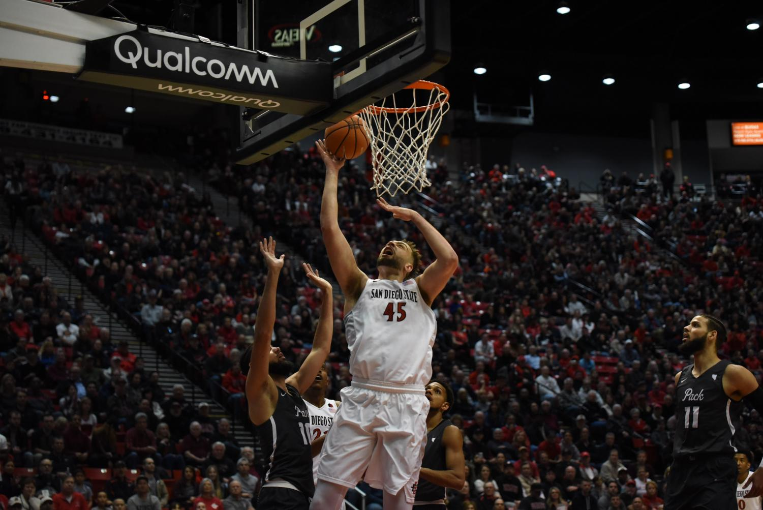 Senior center Kameron Rooks goes up for a layup during the Aztecs 79-74 victory over No. 21 Nevada on March 3 at Viejas Arena