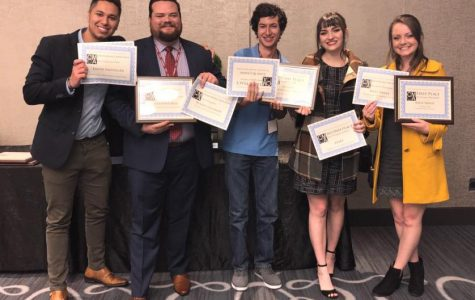 Staff of The Daily Aztec at the 2018 CCMA Awards in Long Beach, CA. Left to right: David Santillan, Andrew Dyer, Will Fritz, Bella Ross and Kelly Smiley.