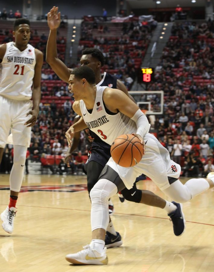 Senior+guard+Trey+Kell+drives+the+ball+during+the+Aztecs+77-73+loss+to+Fresno+State+on+Jan.+17+at+Viejas+Arena.