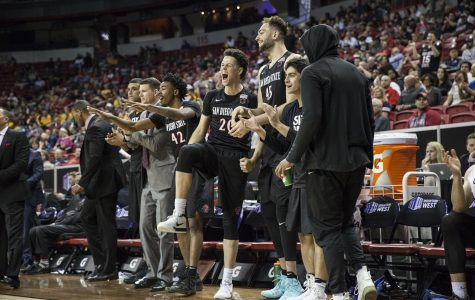 The Aztecs bench celebrates during the teams 64-52 victory over Fresno State in the quarterfinals of the Mountain West tournament on March 8 in Las Vegas.