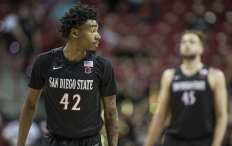 Then-junior guard Jeremy Hemsley looks on during the Aztecs' 90-73 victory over Nevada on March 9 at the Thomas & Mack Center in Las Vegas.