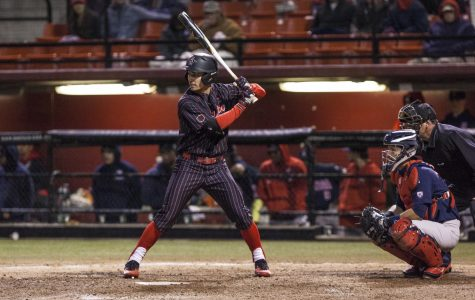 Chase Calabuig stands at the plate during the Aztecs 3-2 victory over Arizona on Feb. 23 at Tony Gwynn Stadium.