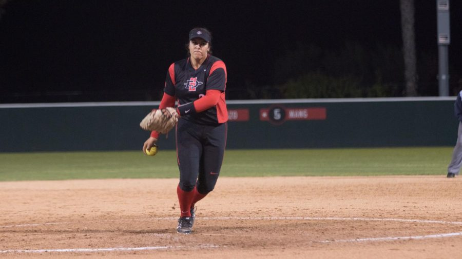 Sophomore+Marissa+Moreno+prepares+to+throw+a+pitch+during+the+Aztecs+2-0+loss+to+Cal+State+Northridge+on+March+2+at+SDSU+Softball+Stadium.