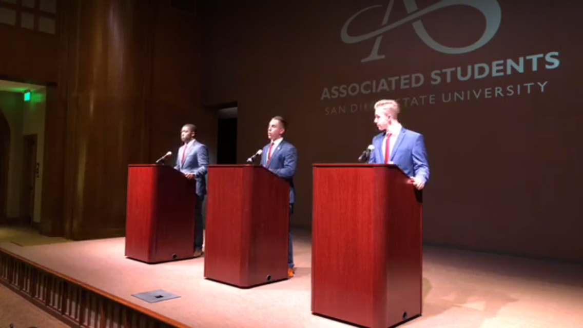 Christian Onwuka, Chris Thomas and Nick Wohlman — the candidates for A.S. vice president of financial affairs, president and executive vice president — take part in a panel discussion in lieu of a debate, as all three are running unopposed.