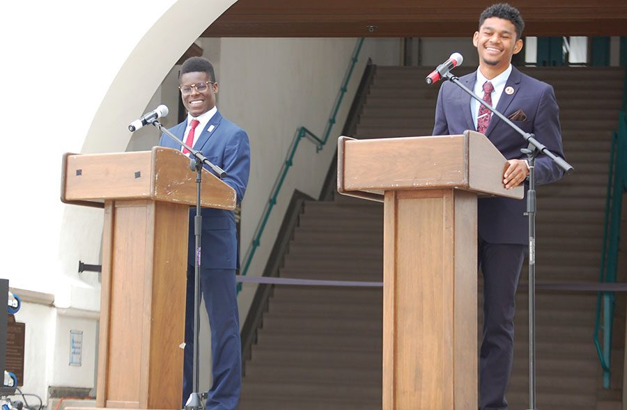 A.S.+vice+president+of+external+relations+candidates+Michael+Wiafe+%28left%29+and+Latrel+Powell+%28right%29+debate+each+other+on+Tuesday+at+the+Conrad+Prebys+Aztec+Student+Union.