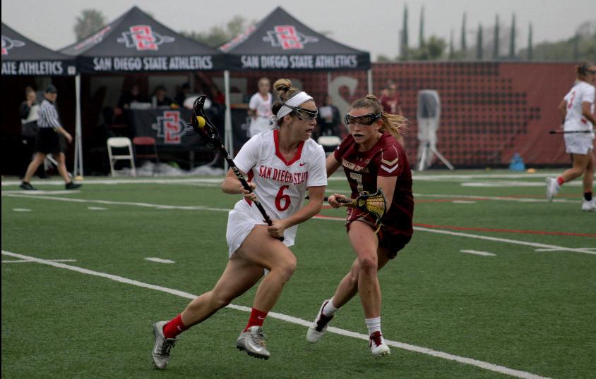 Junior+midfielder+Grace+McGinty+runs+with+the+ball+during+the+Aztecs+19-8+loss+to+No.+4+Boston+College+on+March+10+at+Aztec+Lacrosse+Field.
