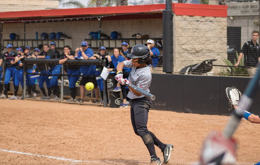Senior outfielder Zaria Meshack goes for a hit during the Aztecs 11-1 loss to Boise State at SDSU Softball Stadium on March 31.
