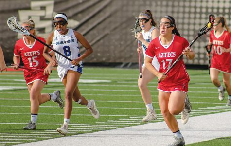 Junior midfielder Harlowe Steele runs up the field during the Aztecs 22-2 victory over Presbyterian on March 5 at the Aztec Lacrosse Field.