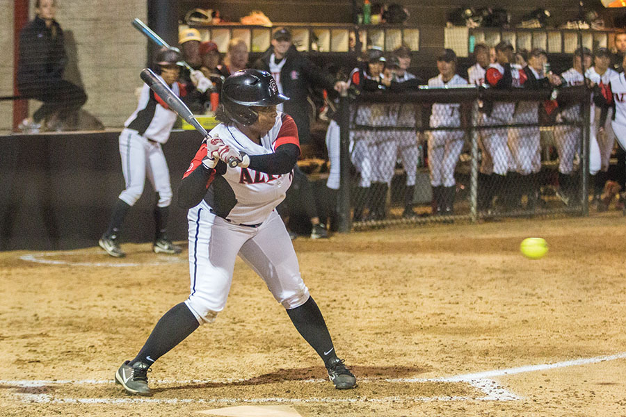 Senior first baseman Taylor Stewart prepares to swing at a pitch during the Aztecs 5-0 loss to Kentucky on Feb. 15 at SDSU Softball Stadium.