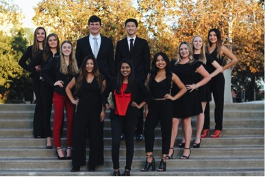 The TEDxSDSU 2018 Committee  Front row, left to right: Kiana Olow, Athena Malcolm, Maddie Ward, Veronica Montemayor, Salwa Khan, Kelsey DeGuia, Alex Noble, Kayla Compton and Becky Flores Back row, left to right: Danny Sandler and Liam Lau
