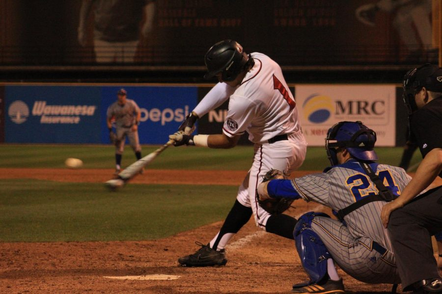 Sophomore+outfielder+Julian+Escobedo+connects+for+an+eighth+inning+home+run+during+the+Aztecs+5-4+victory+over+CSU+Bakersfield+on+March+20+at+Tony+Gwynn+Stadium.