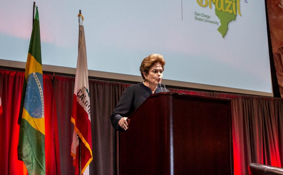 Former+president+Dilma+Rousseff+speaks+about+Brazil%27s+political+issues+on+April+19%2C+inside+Montezuma+Hall+at+San+Diego+State.