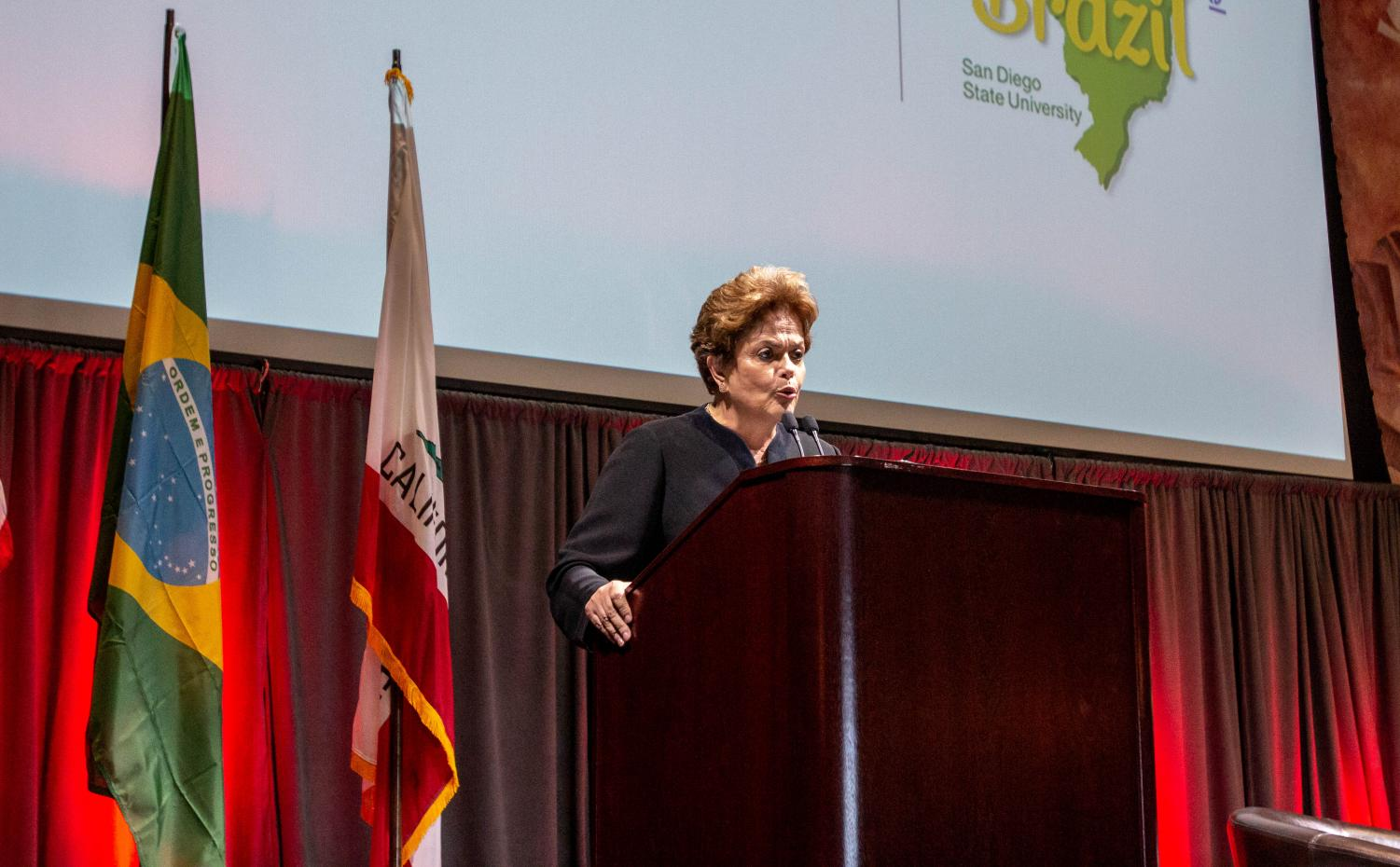 Former president Dilma Rousseff speaks about Brazil's political issues on April 19, inside Montezuma Hall at San Diego State.