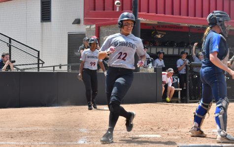 Sophomore outfielder Kiera Wright comes around to score during the Aztecs 6-3 loss to Nevada at SDSU Softball Stadium on April 15.