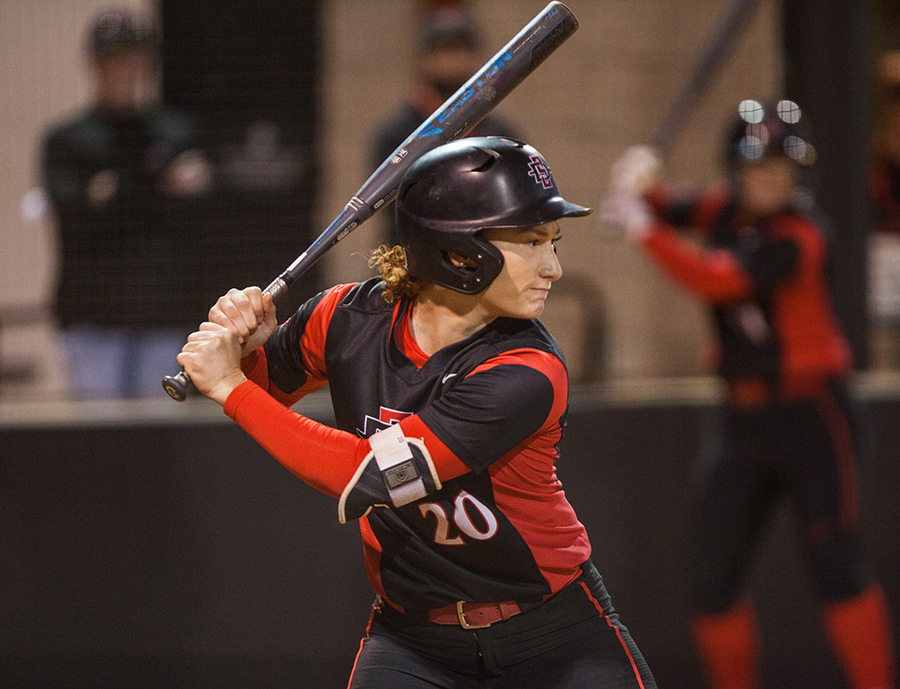 Shelby Thompson stands ready at the plate during the Aztecs 6-2 victory over Colorado State on April 28 at SDSU Softball Stadium.