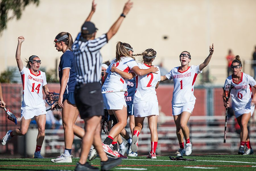 The+Aztecs+celebrate+a+goal+during+the+teams+16-6+victory+over+Fresno+State+in+the+MPSF+Championship+semifinals+on+April+27+at+the+Aztec+Lacrosse+Field.+