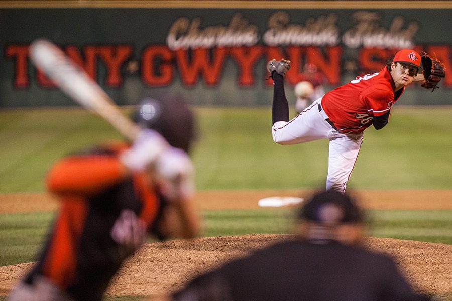 Justin Goossen-Brown pitches during the Aztecs 7-6 victory over UNLV on April 28 at Tony Gwynn Stadium.