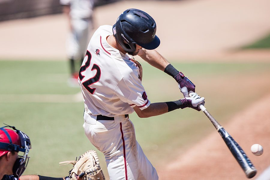 Senior infielder David Hensley takes a hack during the Aztecs 7-0 victory over Fresno State on April 22 at Tony Gwynn Stadium.