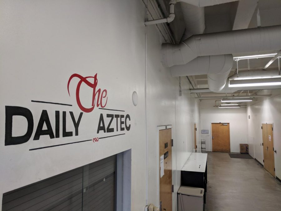 The+Daily+Aztec+newsroom+in+the+basement+of+the+Education+and+Business+Administration+building.