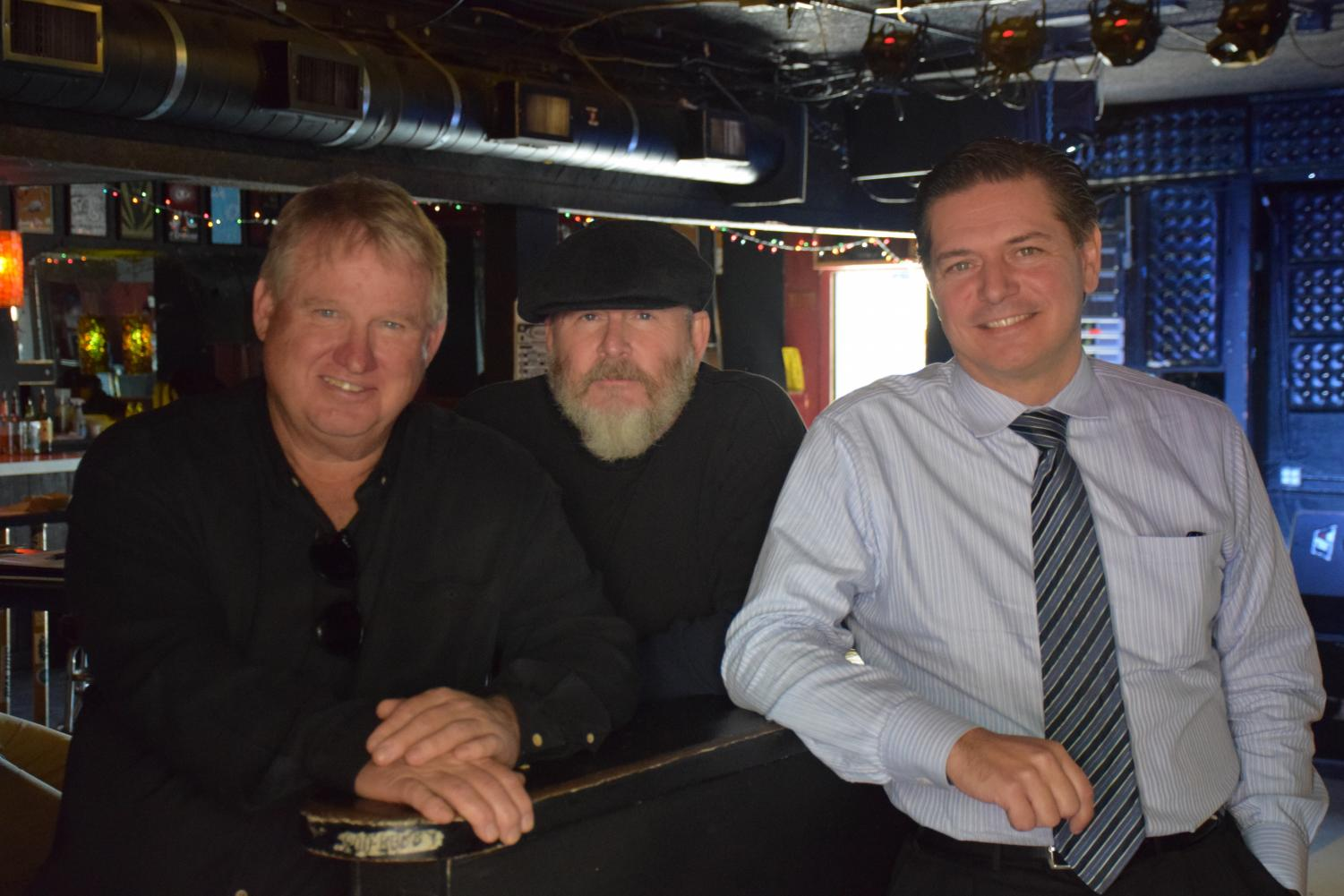 Randal Phillips, Michael Halloran and Mario Mayans sit at the Casbah in San Diego during a press event for the new MORE-FM bilingual station format on Monday, March 26, 2018.