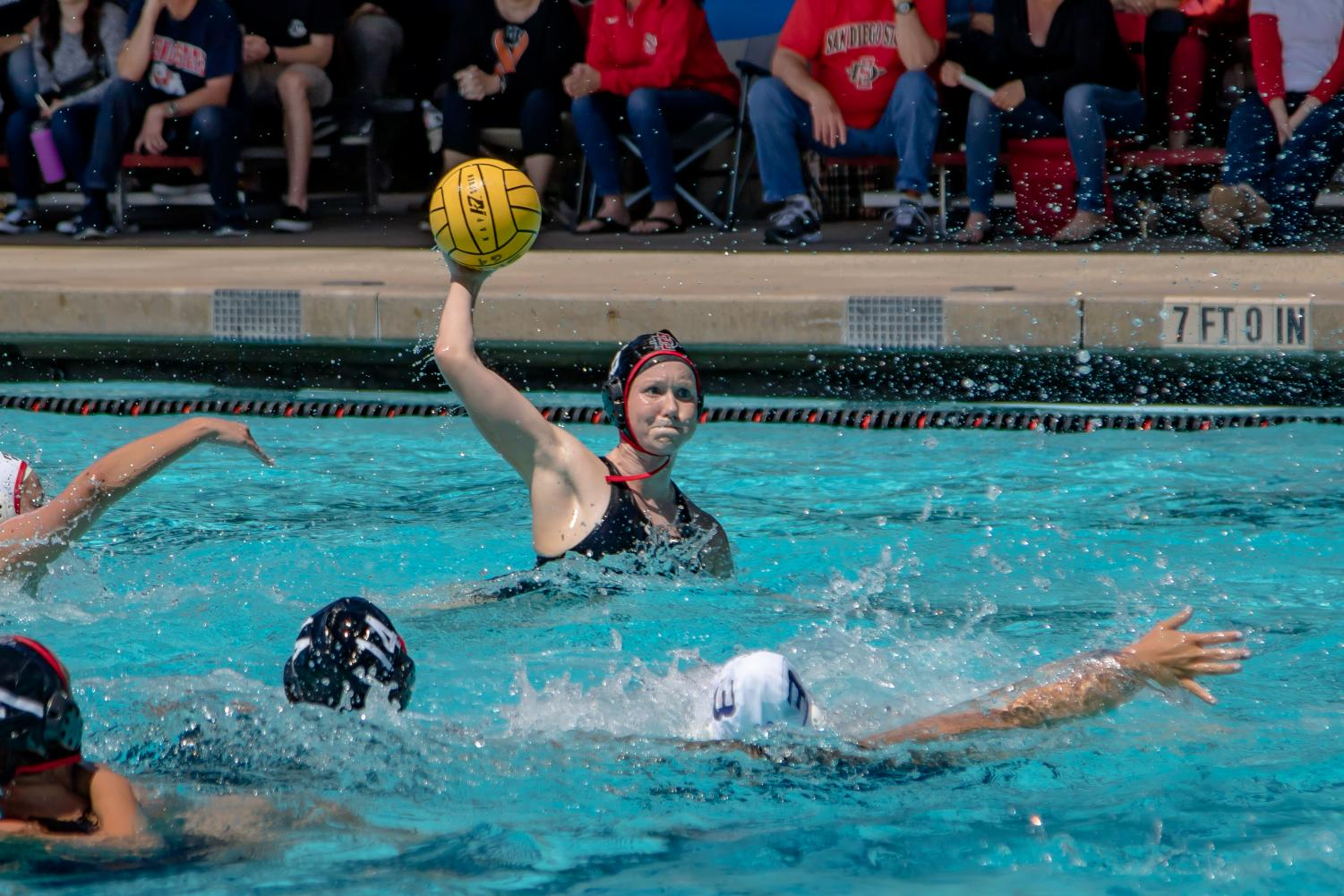 Senior utility player Lizzy Bilz holds the ball during the Aztecs 11-9 victory over Fresno State at the Aztec Aquaplex on April 8.