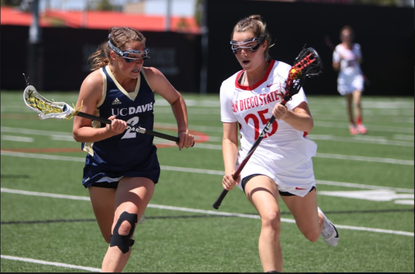 SDSU+sophomore+defender+Sarah+McDonagh+%2825%29+is+chased+by+UC+Davis+sophomore+attacker+Amanda+Outcalt+%282%29+during+the+Aztecs+15-9+defeat+to+the+Aggies+at+the+Aztec+Lacrosse+Field+on+April+8.+