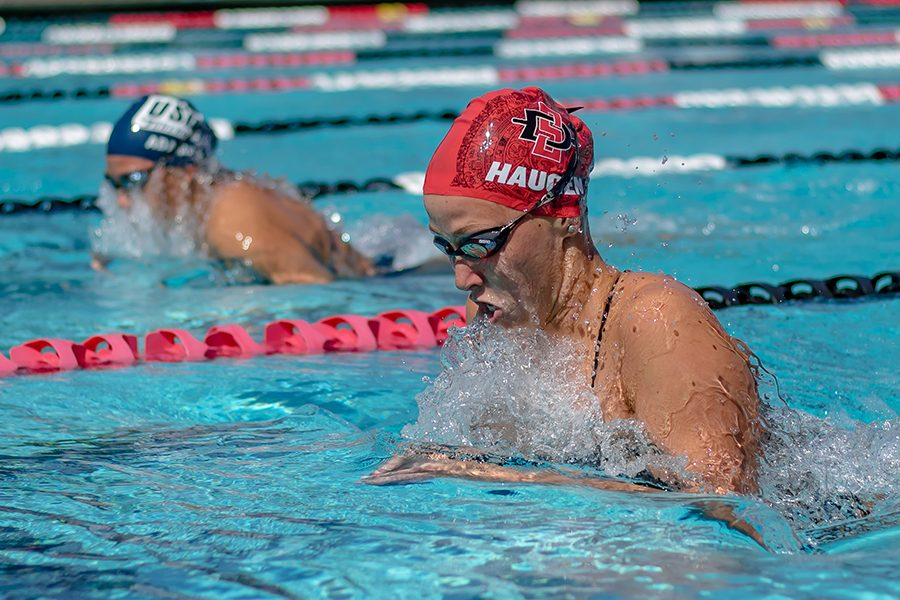 Redshirt+freshman+Gianna+Haugen+competes+during+the+Aztecs+meet+with+San+Diego+on+April+20+at+the+Aztec+Aquaplex.