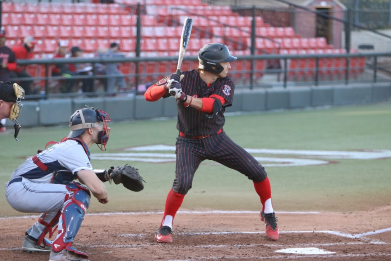Freshman+Casey+Schmitt+prepares+to+swing+during+the+Aztecs+3-2+win+over+Fresno+State+on+April+20+at+Tony+Gwynn+Stadium.