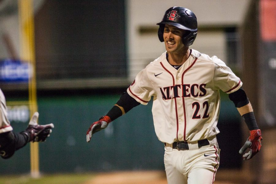 Senior+infielder+David+Hensley+celebrates+after+hitting+a+sacrifice+fly+during+the+Aztecs+two-run%C2%A0seventh+inning+in+a+2-1+victory+over+San+Jose+State+on+May+24+at+Tony+Gwynn+Stadium.