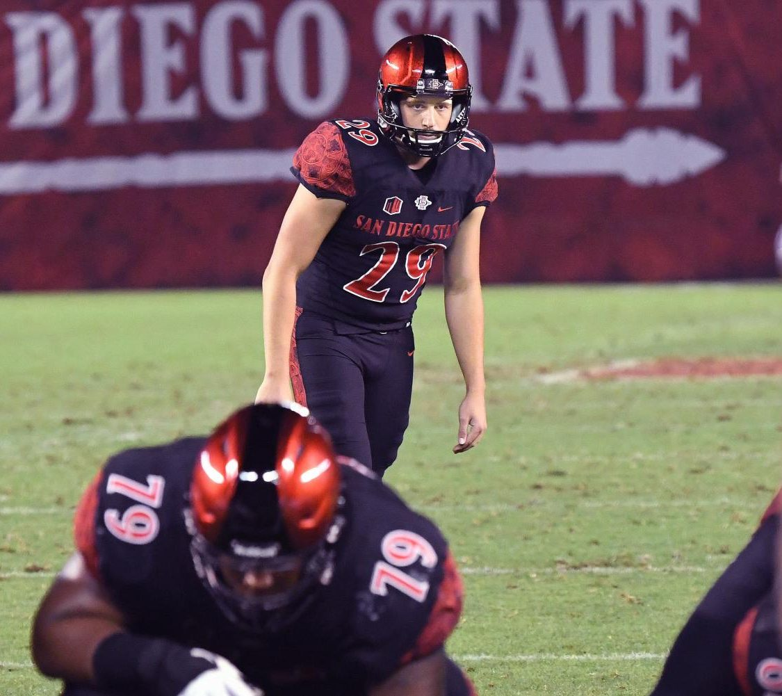 Senior kicker John Baron II readies to boot a field goal during the Aztecs 28-21 victory over Arizona State on Sept. 15 at SDCCU Stadium. Baron made two field goals in the game, including a career-high 54 yarder.