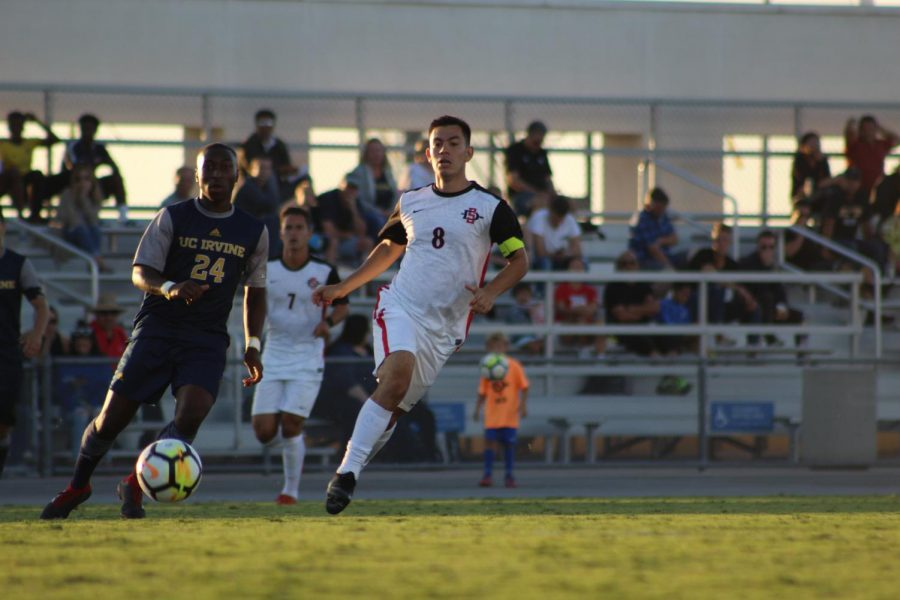 Redshirt+junior+midfielder+Pablo+Pelaez+chases+after+the+ball+during+the+Aztecs+2-1+victory+over+UC+Irvine+on+Sept.+9+at+the+SDSU+Sports+Deck.+
