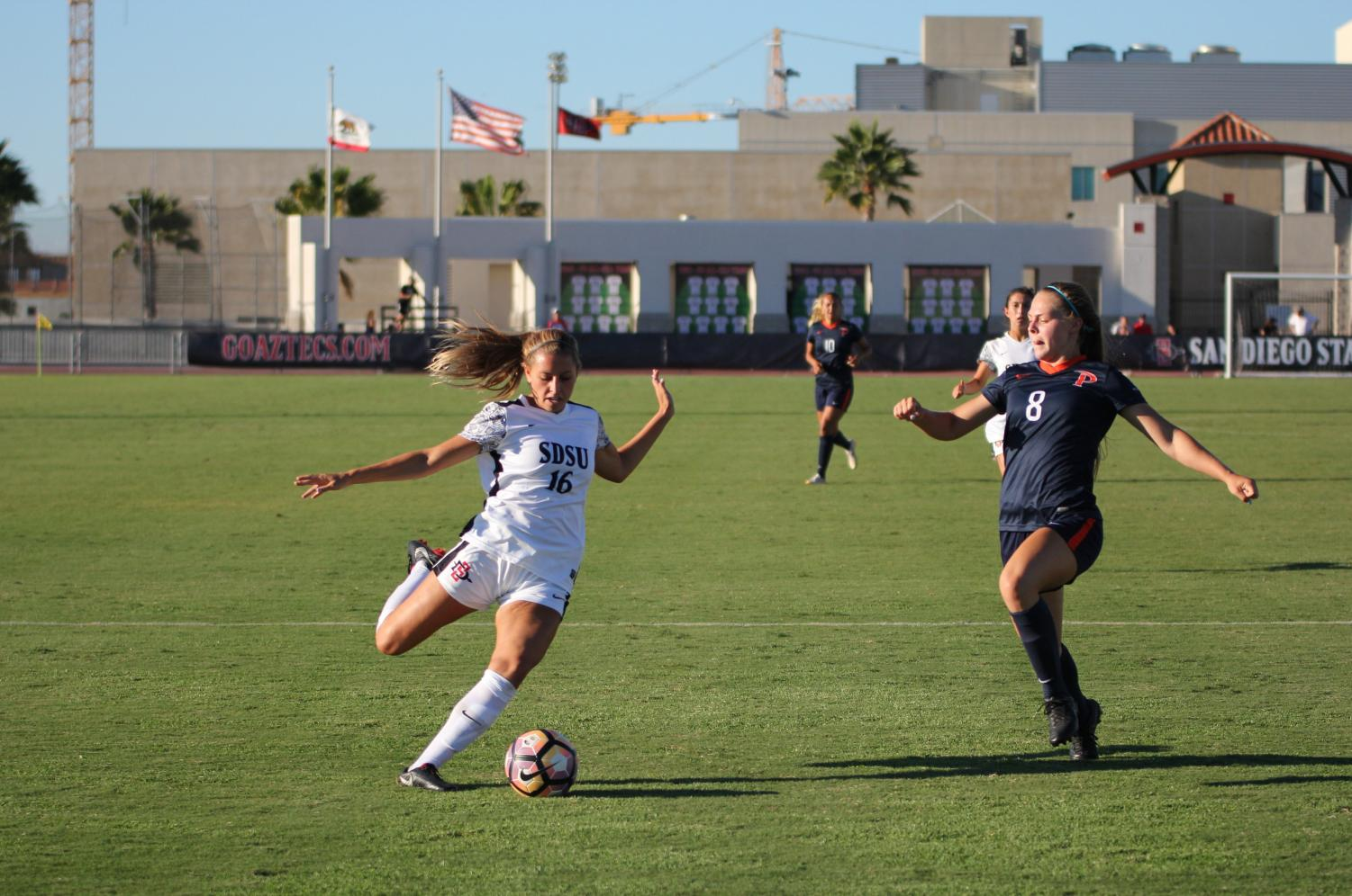 Junior forward Darcy Weiser looks to score during the second half of the Aztecs 1-0 loss against Pepperdine University on Sept. 14 at the SDSU Sports Deck.