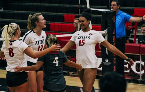 Senior middle blocker Deja Harris (right) celebrates with her teammates after earning a point during the Aztecs five-set loss to Louisiana on Sept. 15 at Peterson Gym.