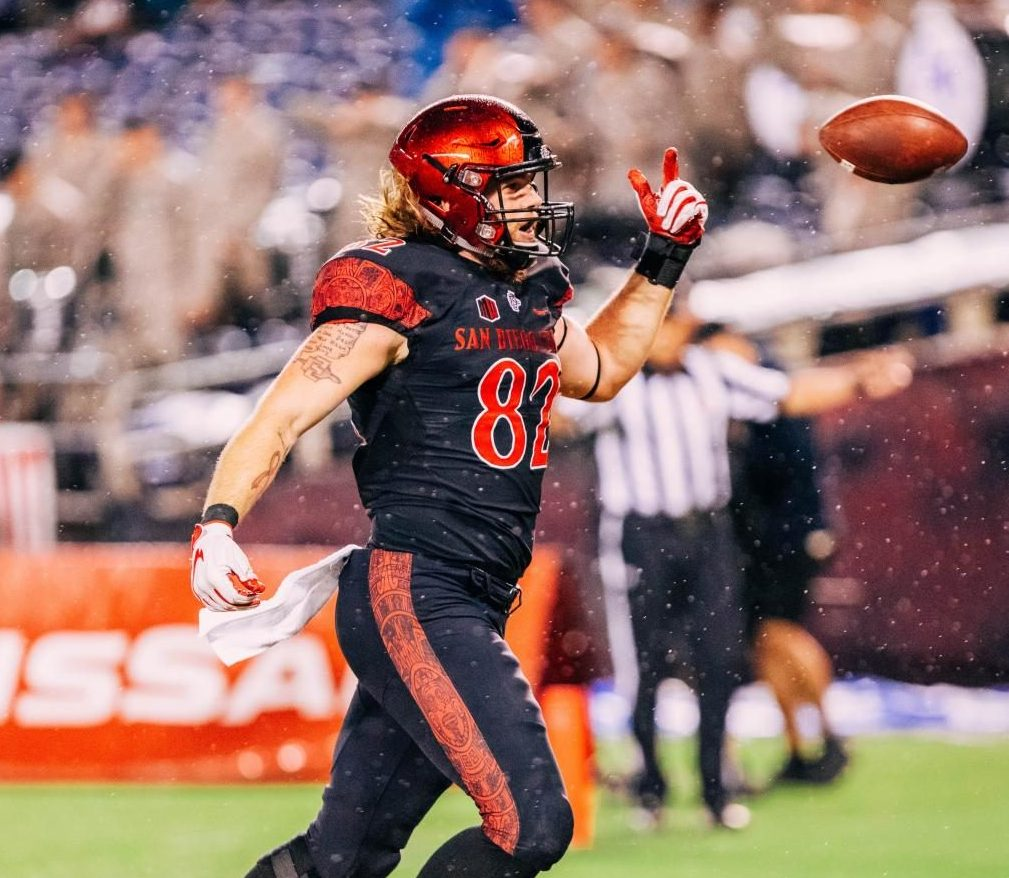 SDSU junior tight end Parker Houston celebrates the game-winning touchdown against Air Force on Oct. 12 at SDCCU Stadium.