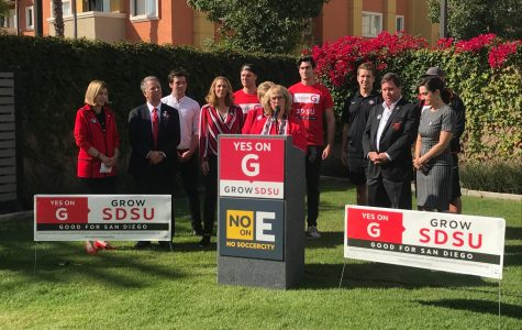 Former interim President Sally Roush addresses the press to express her support for the SDSU West initiative.