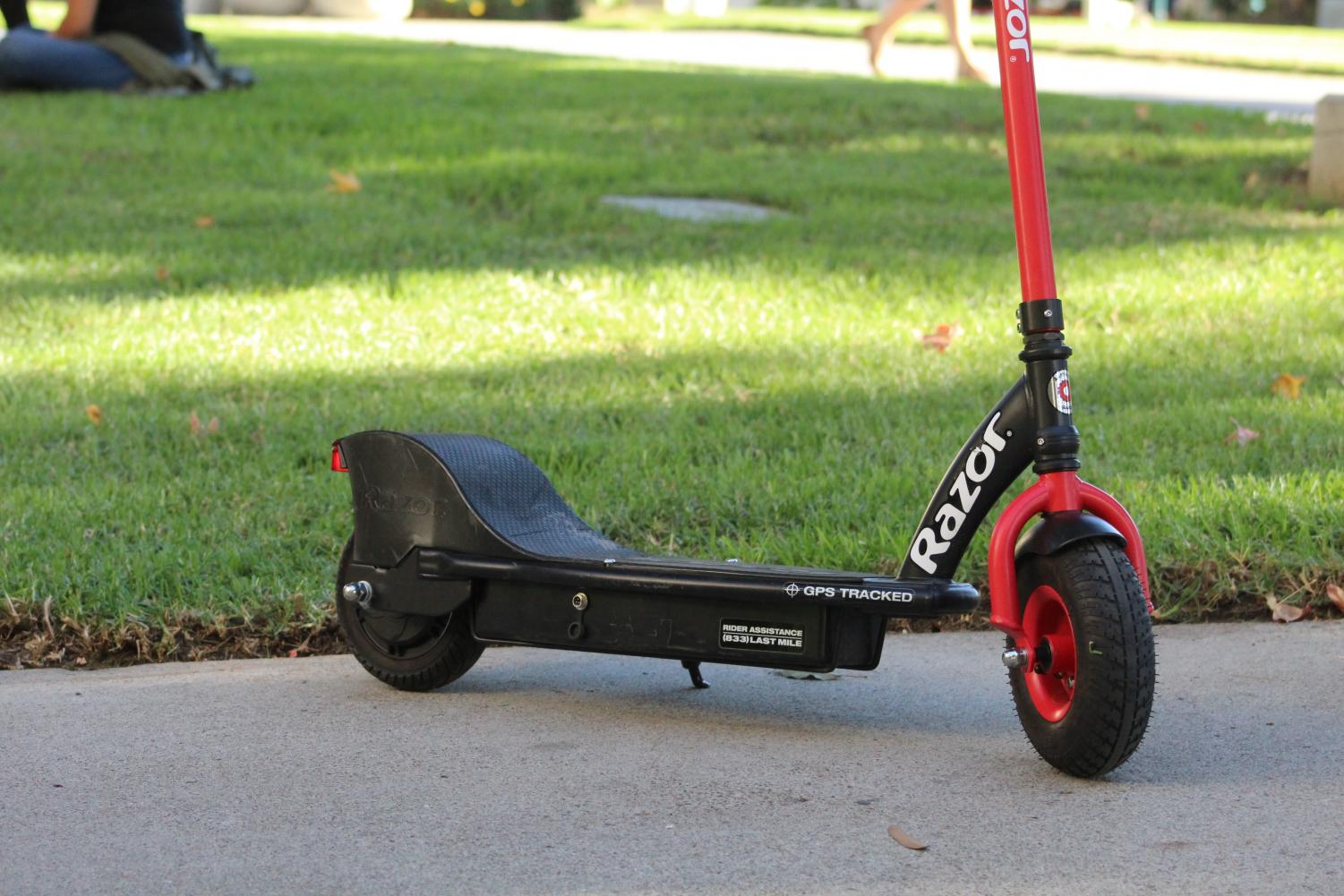 The presence of dockless Razor scooters on campus has increased in the past month, despite not being regulated by the university.