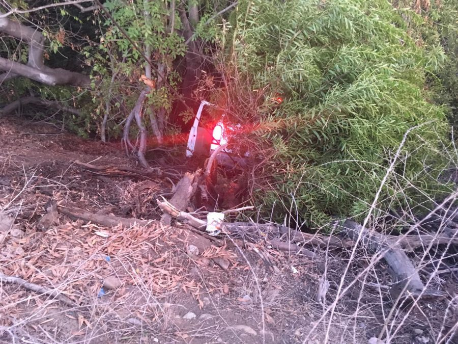 A vehicle flipped into a ditch near campus during an accident on Oct. 28.