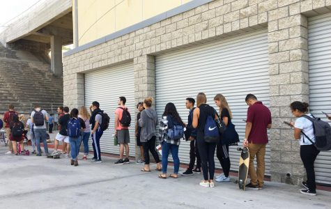 Students line up for meningitis vaccinations outside of Viejas Arena on Oct. 8 after this year's first meningitis scare.