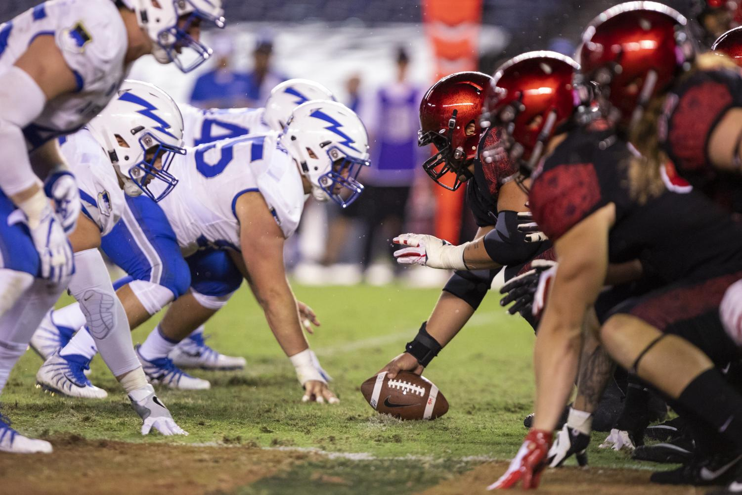 The SDSU offensive line lines up against Air Force during its 21-17 victory over the Falcons on Oct. 12 at SDCCU Stadium.