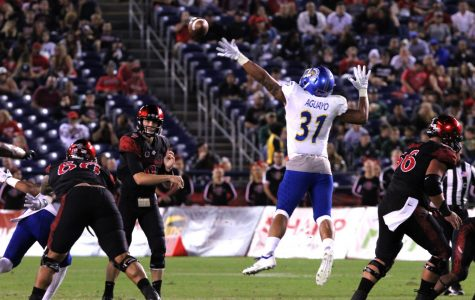 Junior quarterback Ryan Agnew attempts to complete a pass during the second quarter of the Aztecs' 16-13 victory over SJSU on Oct. 20 at SDCCU Stadium.