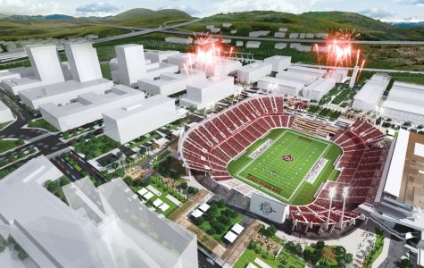 A rendering of SDSU's proposal for a new stadium in Mission Valley. The university on Thursday announced it had awarded a $250 million contract to Clark Construction for building a new stadium at the SDCCU Stadium site, which a November referendum authorized the city to sell to SDSU.