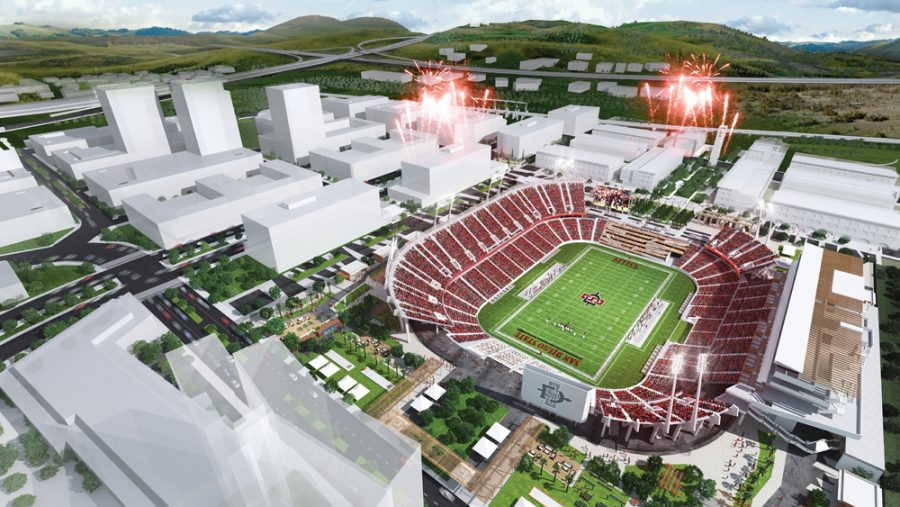 A+rendering+of+SDSU%27s+proposal+for+a+new+stadium+in+Mission+Valley.+The+university+on+Thursday+announced+it+had+awarded+a+%24250+million+contract+to+Clark+Construction+for+building+a+new+stadium+at+the+SDCCU+Stadium+site%2C+which+a+November+referendum+authorized+the+city+to+sell+to+SDSU.