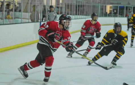 Zac Mencimer competes on the ice during the Aztecs 5-2 victory over Arizona State on  Nov. 10 at the Joan Kroc Center.