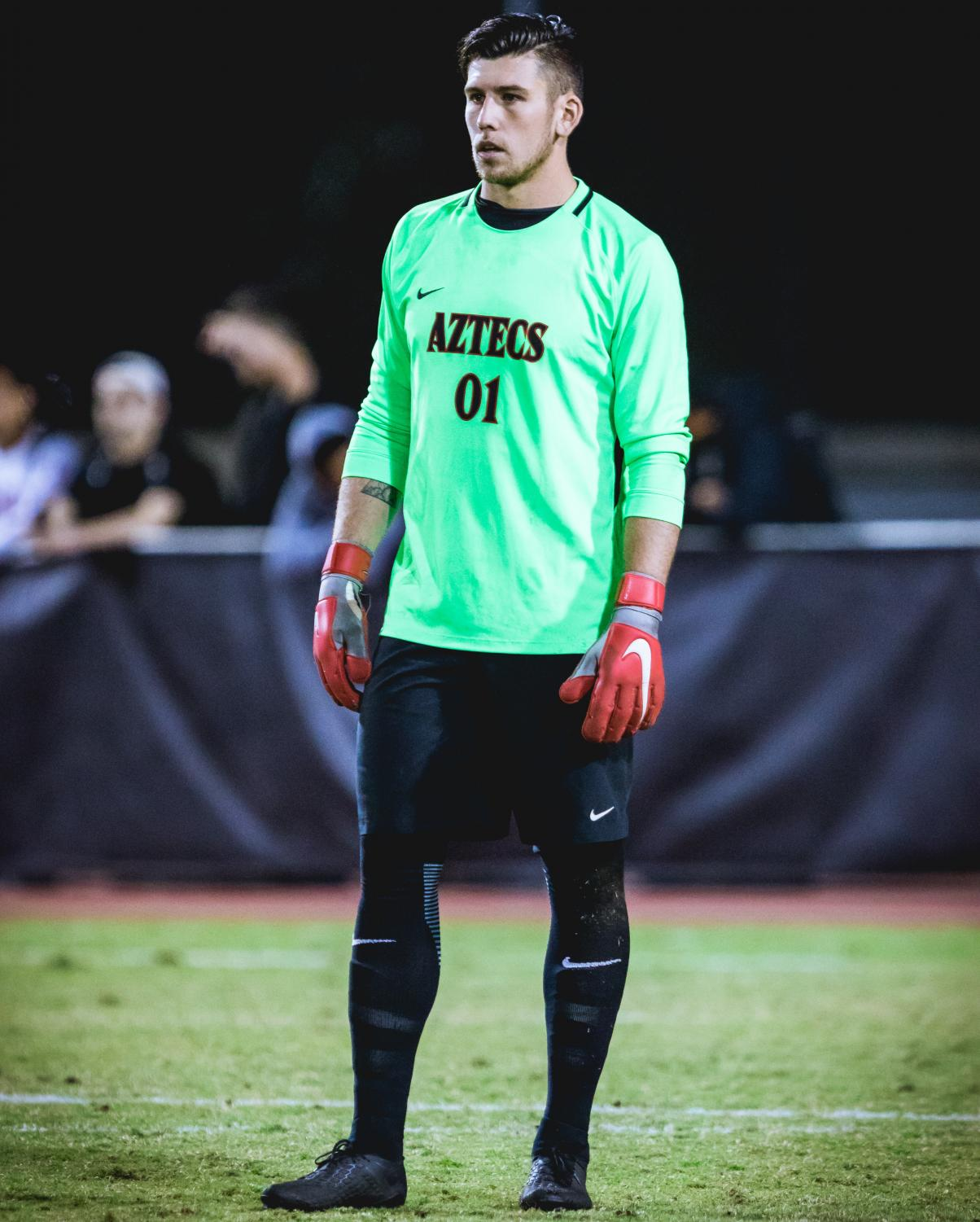 Redshirt senior goalkeeper Cameron Hogg during the Aztecs 2-0 loss to Stanford on Nov. 1 at the SDSU Sports Deck.
