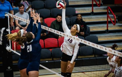 Volleyball returns home with three-set sweep over Utah State