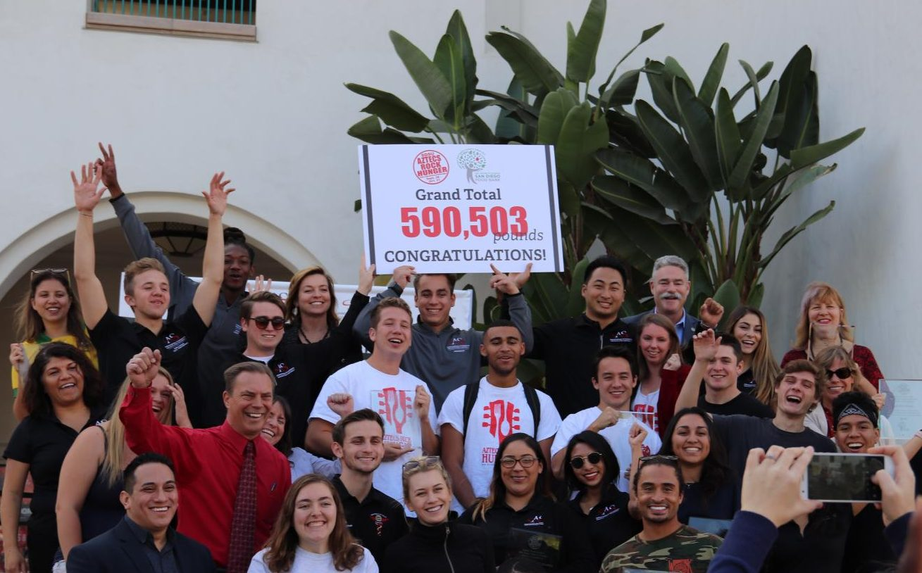 Students, faculty and community members who worked on the Aztecs Rock Hunger celebrated a record number of food donations in the student union on Nov. 15.